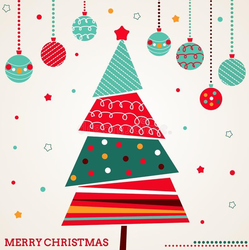 Retro- Weihnachtskarte mit Baum und Verzierungen lizenzfreie abbildung
