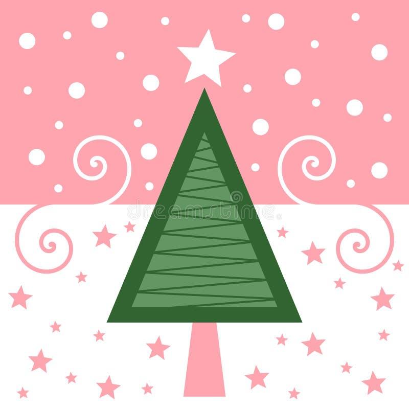 Retro- Weihnachtskarte [Rosa] stock abbildung