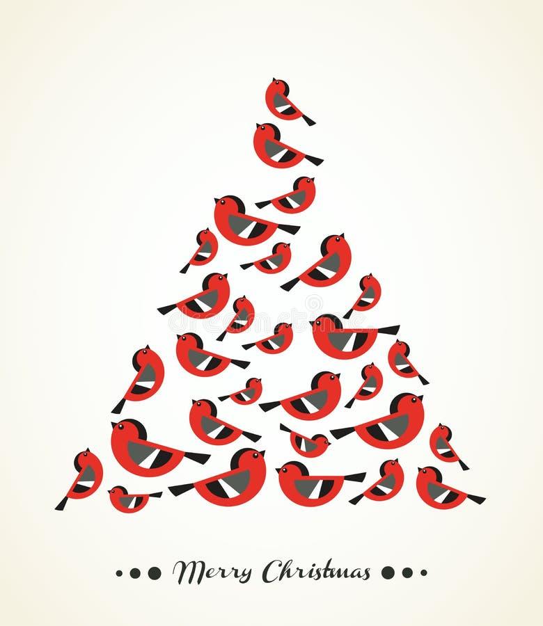 Retro- Weihnachtskarte - Vögel als Baum lizenzfreie abbildung