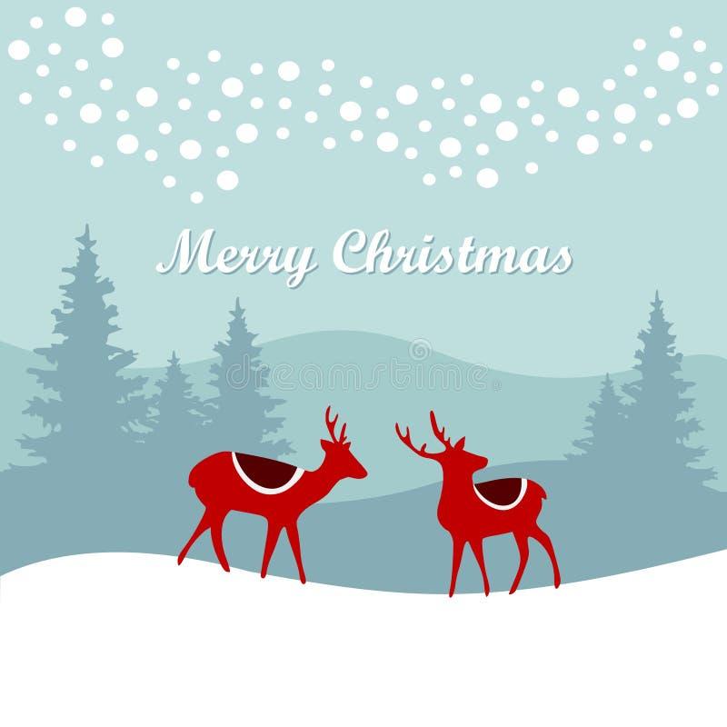 Retro- Weihnachtskarteneinladung mit Ren im schneebedeckten Wald des Winters, Illustration lizenzfreie abbildung
