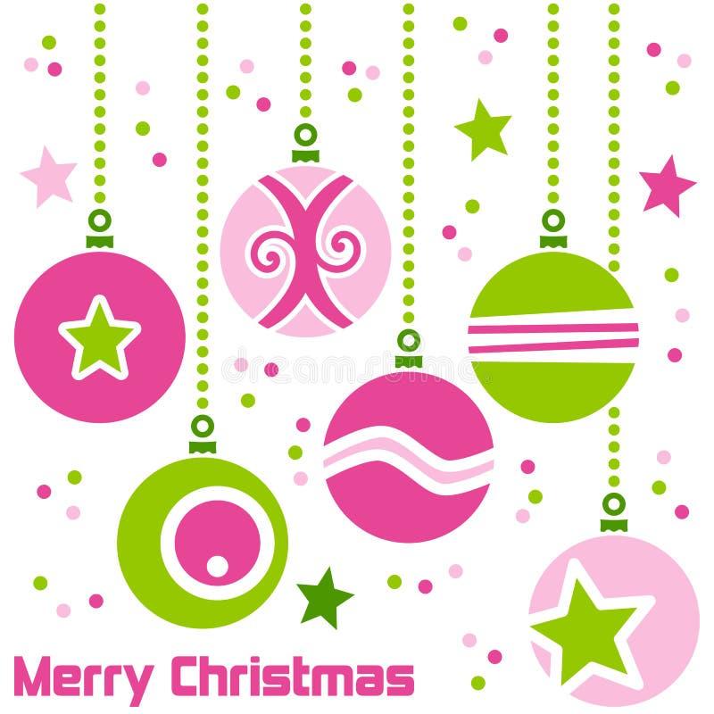 Retro- Weihnachtskugeln lizenzfreie abbildung