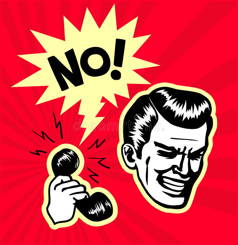 Retro- Weinlese clipart: zeigen Sie leere Ablehnung, ärgerlicher Televerkaufcall-center-Sekretär erhält nachdrückliches kein stock abbildung