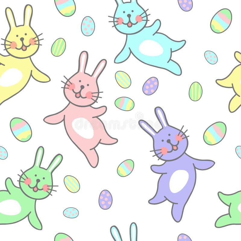 Retro- Weinlese der glücklichen nahtlosen Muster-Illustration Ostern mit Osterei stock abbildung
