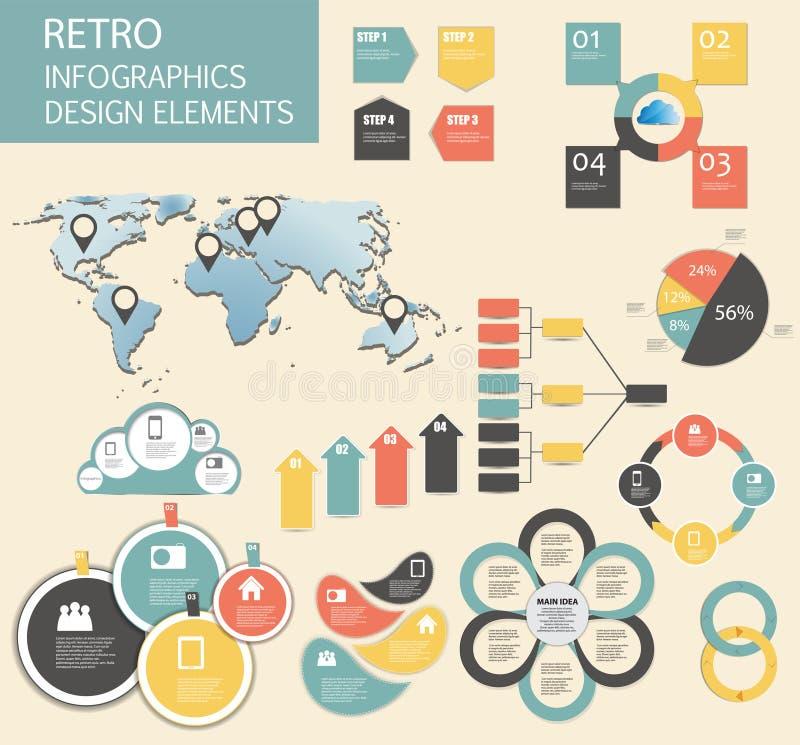 Retro- Weinlese Infographic-Schablonen-Geschäftsvektor vektor abbildung