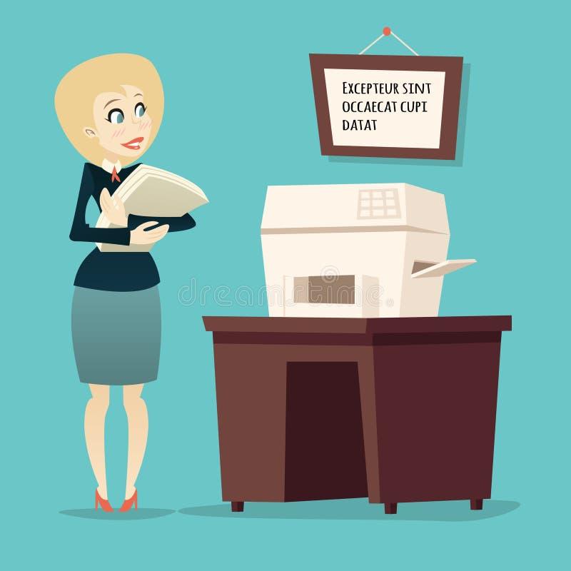 Retro- Weinlese-Karikatur-Geschäftsfrau Character stock abbildung
