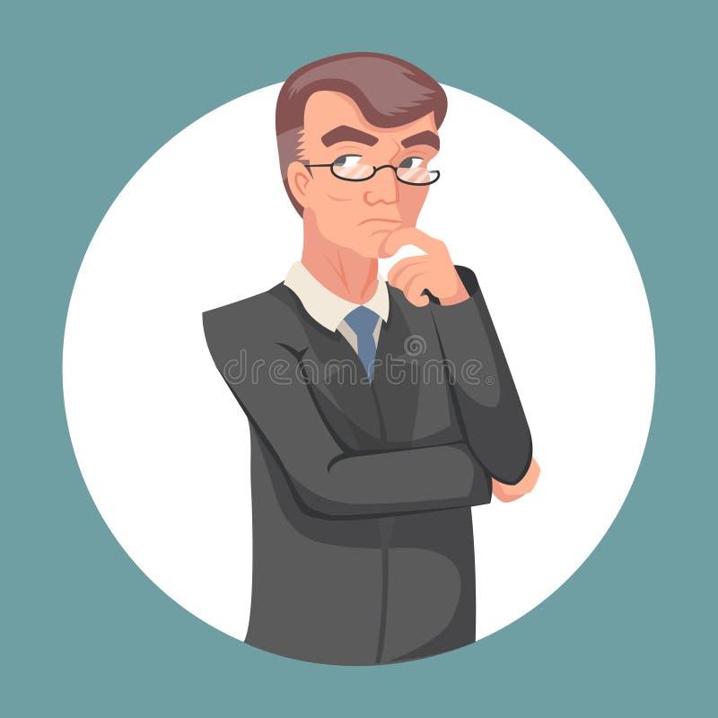 Retro- Weinlese-Karikatur-Plakat-Beschlussfassungs-durchdachtes Genie-intelligenter erwachsener Geschäftsmann Character Icon auf  vektor abbildung