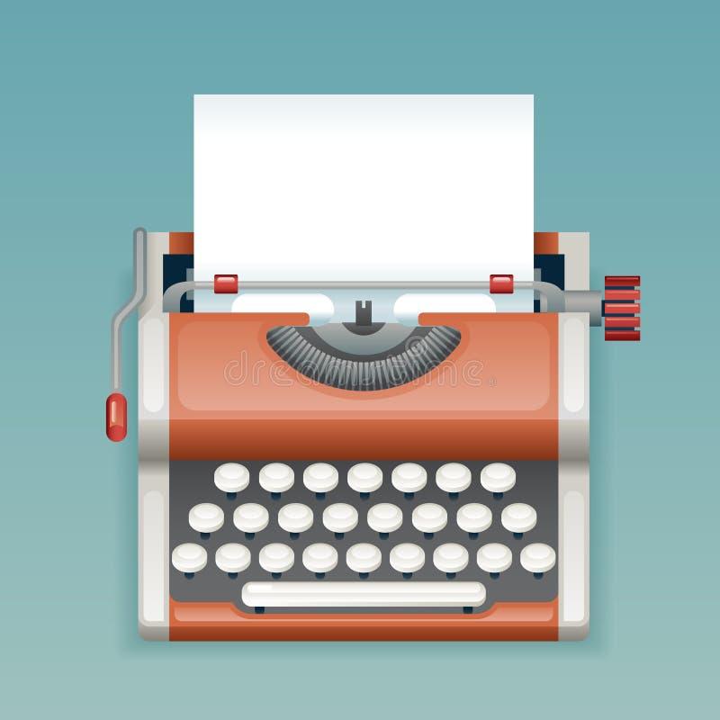 Retro- Weinlese-manuelle Schreibmaschine mit Blatt-Verfasser-Mass Media Press-Journalist-Icon Realistics 3d des leeren Papiers fl vektor abbildung