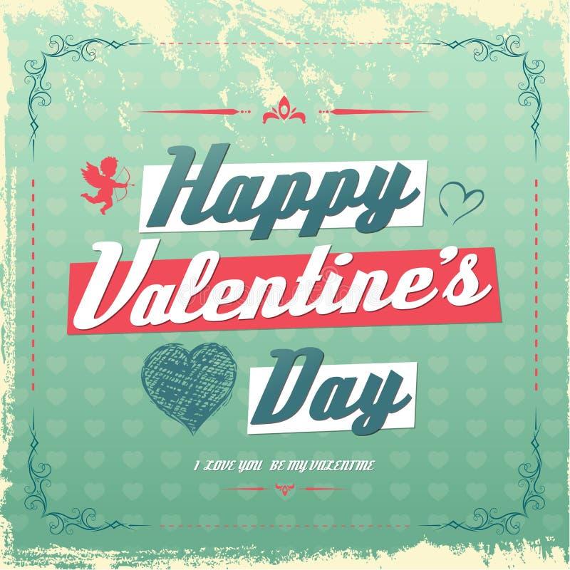 Retro- Weinlese Valentinstaggruß-Kartendesign lizenzfreie abbildung
