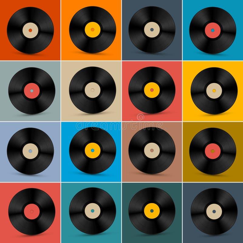 Retro-, Weinlese-Vektor-Vinylaufzeichnungs-Disketten-Satz lizenzfreie abbildung