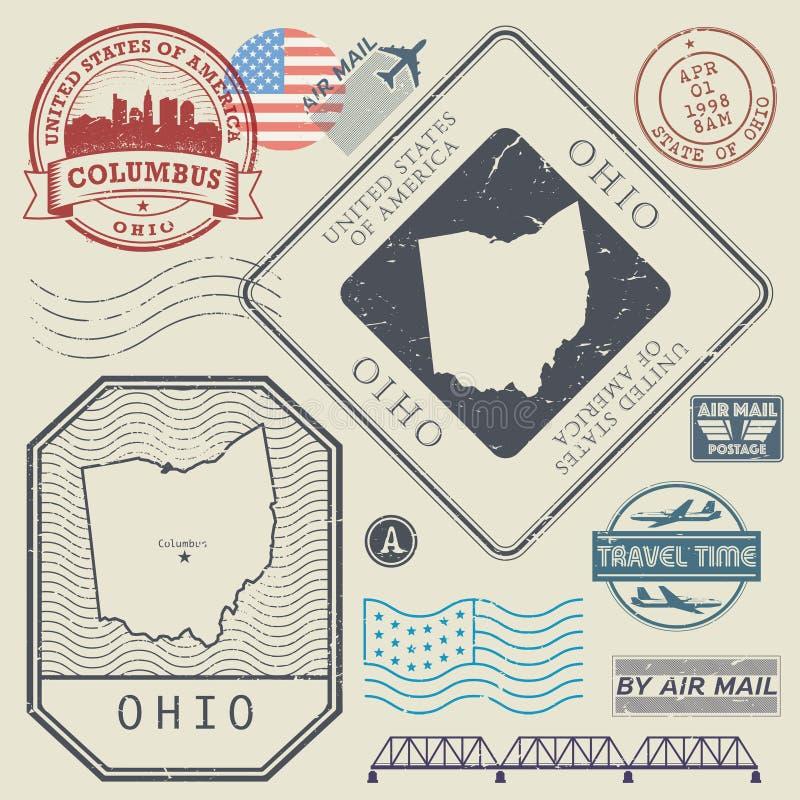 Retro- WeinleseBriefmarken stellten Ohio, Vereinigte Staaten ein vektor abbildung