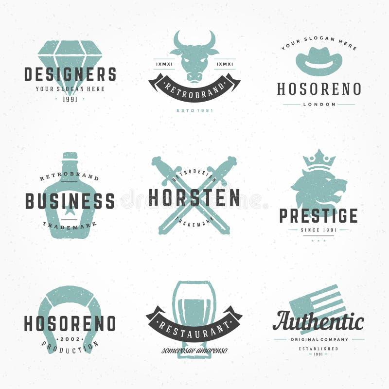 Retro- Weinlesefirmenzeichen-oder -insignien Hand gezeichnet lizenzfreie abbildung