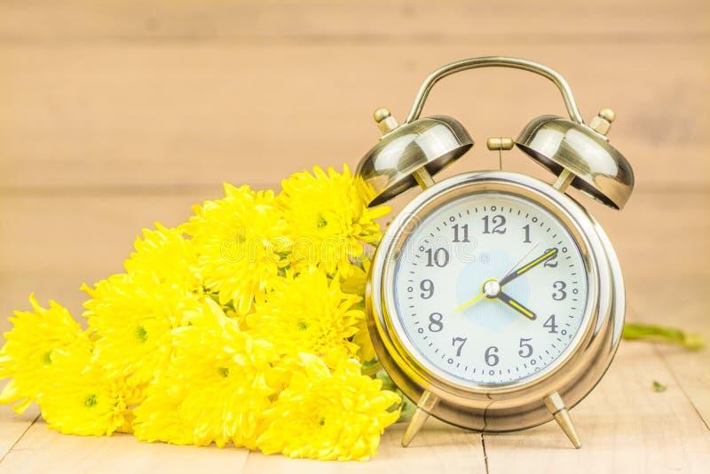 Retro wekker en bloemen royalty-vrije stock fotografie