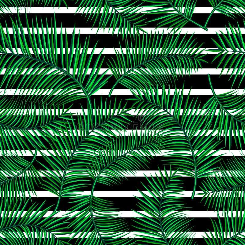 Retro wektorowa ilustracja egzotyczny tropikalny bezszwowy wzór z kreskówka jaskrawymi palmowymi liśćmi, geometryczna linia prost royalty ilustracja