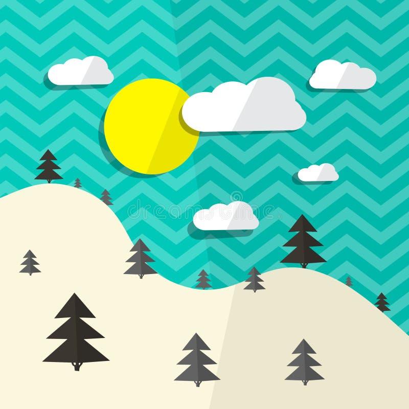 Download Retro Wektorowa Płaska Projekta Krajobrazu Ilustracja Ilustracji - Ilustracja złożonej z kartony, plenerowy: 57655404