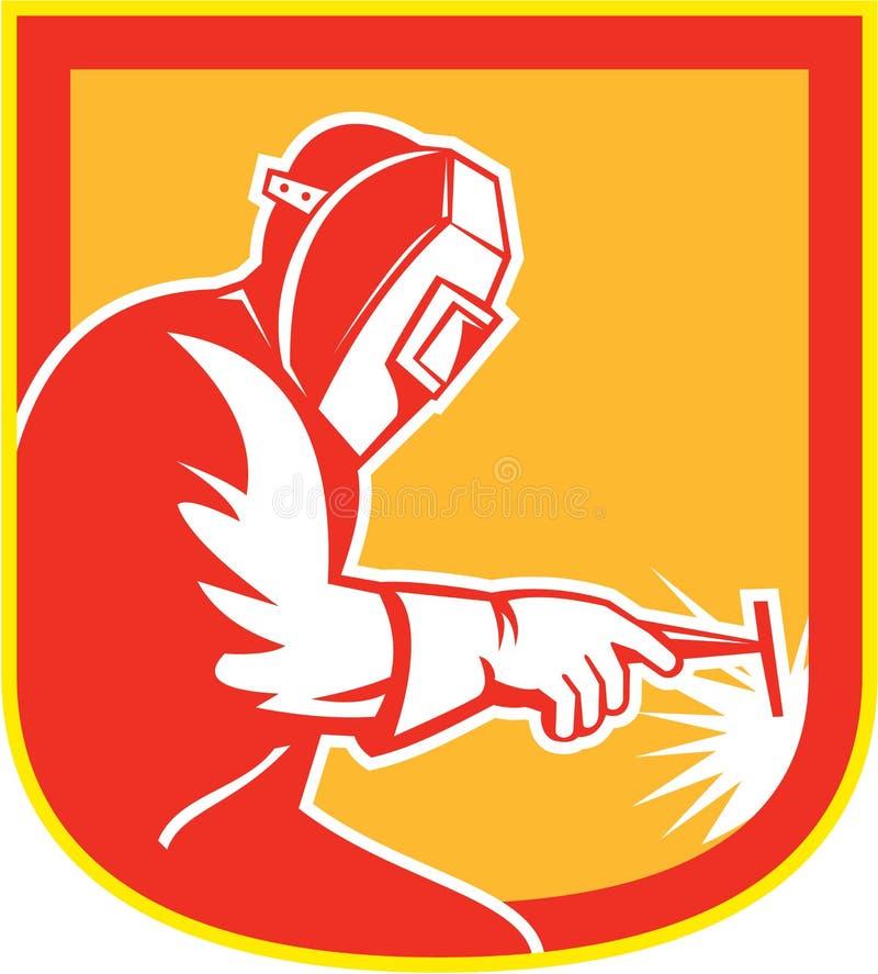 Retro WelderHolding Welding Torch sköld royaltyfri illustrationer