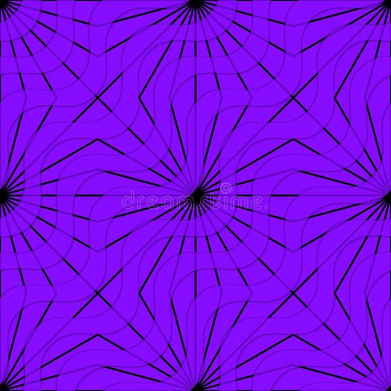 Retro- Wellen und Strahlen des Purpurs 3D stock abbildung