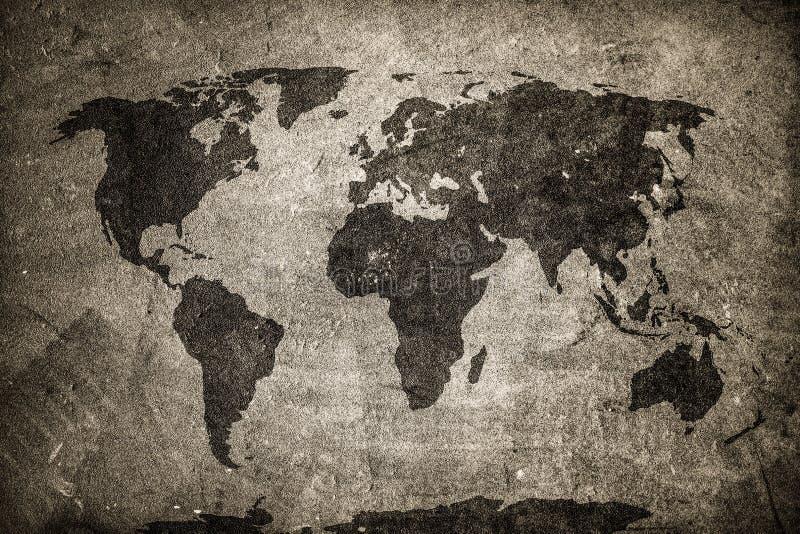 Retro wereldkaart op beton, pleistermuur Wijnoogst, grunge achtergrond vector illustratie