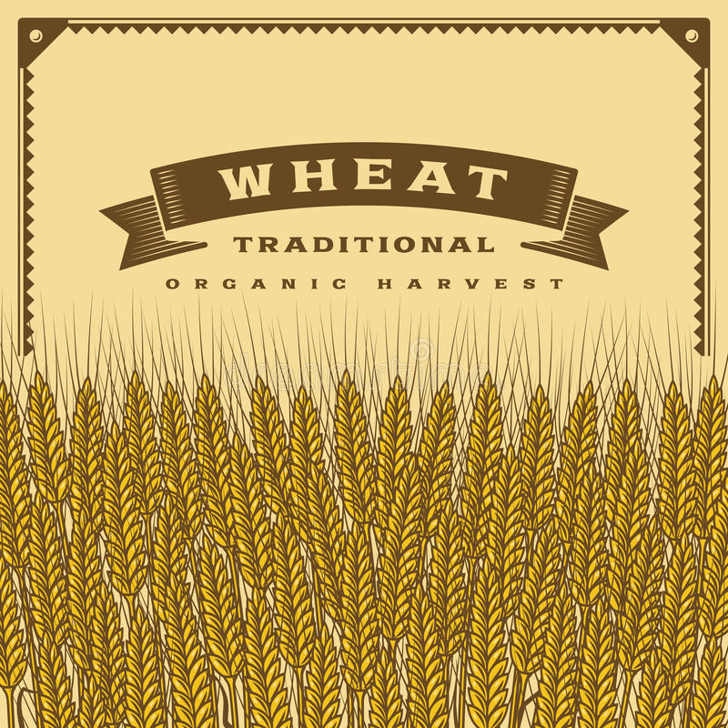 Retro wheat harvest card. In woodcut style. Editable vector illustration with clipping mask royalty free illustration