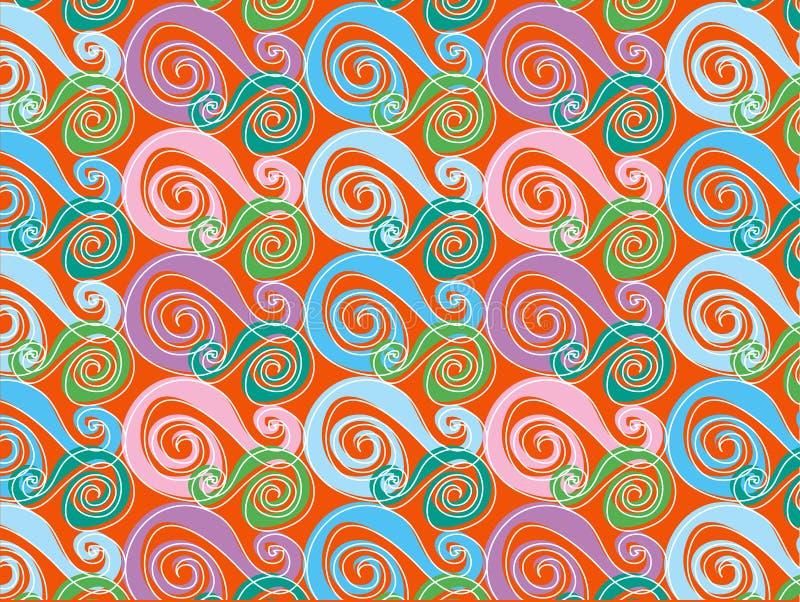 Retro whirly colore rosa ed azzurro illustrazione di stock