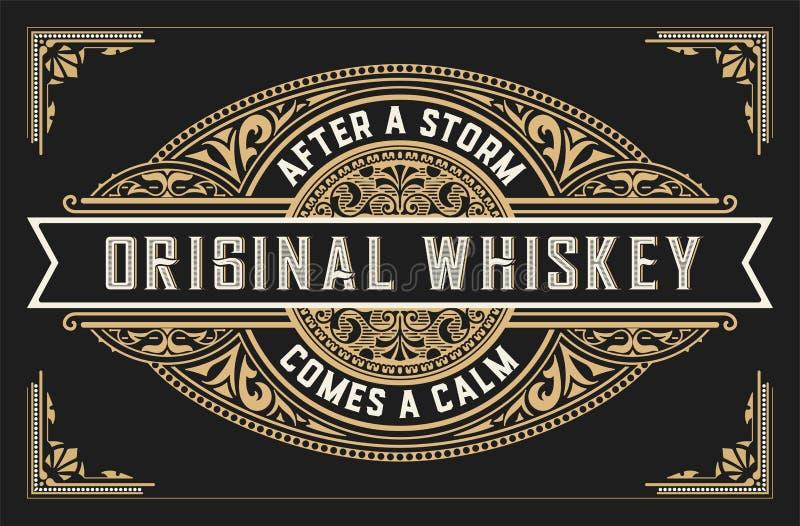 Retro whisky etykietka royalty ilustracja