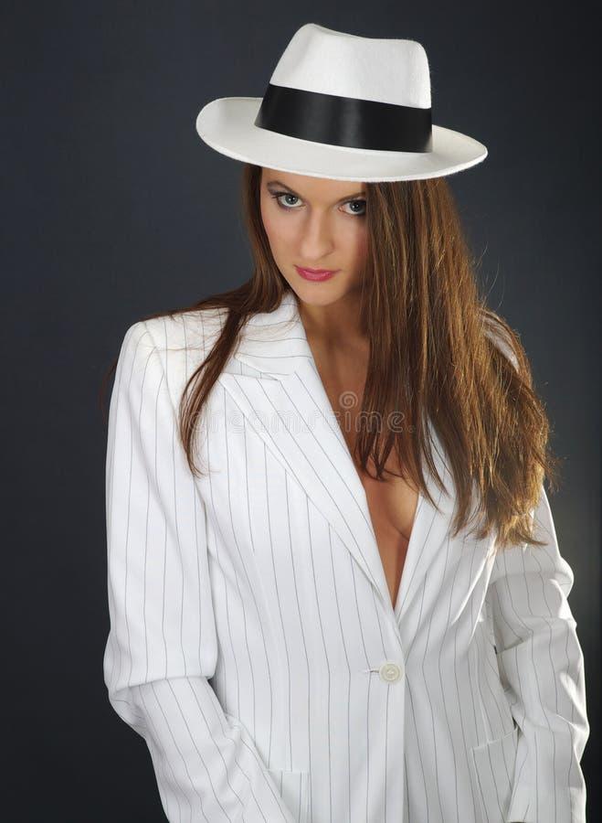 retro white för hattstående arkivbild