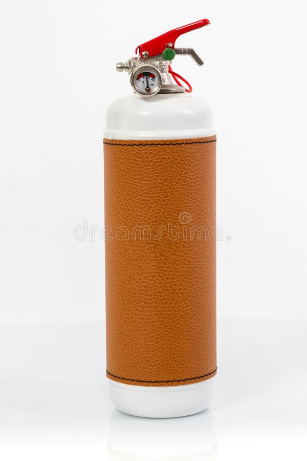 Retro white Fire extinguisher red tank isolated on white background.  royalty free stock photos
