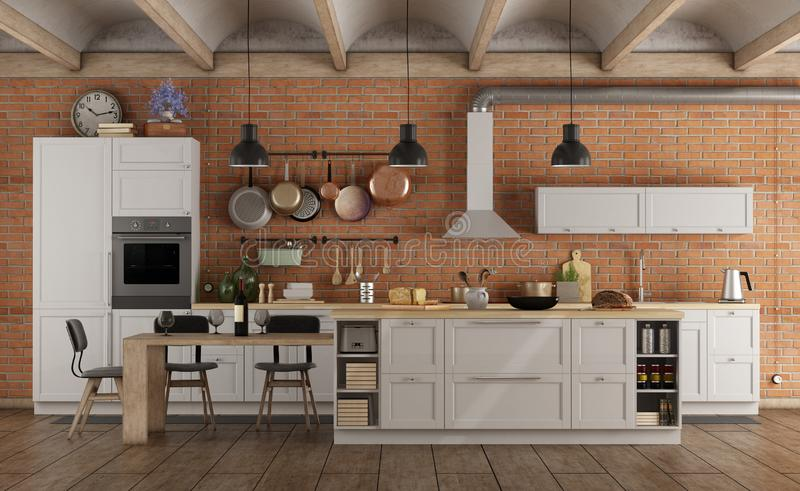 Retro white kitchen in a old interior with brick wall stock illustration