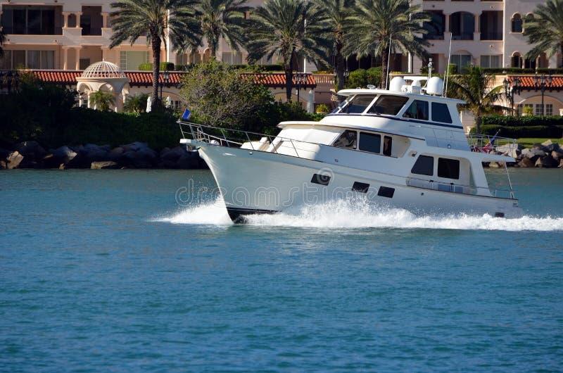 Retro White Motor Yacht stock photo
