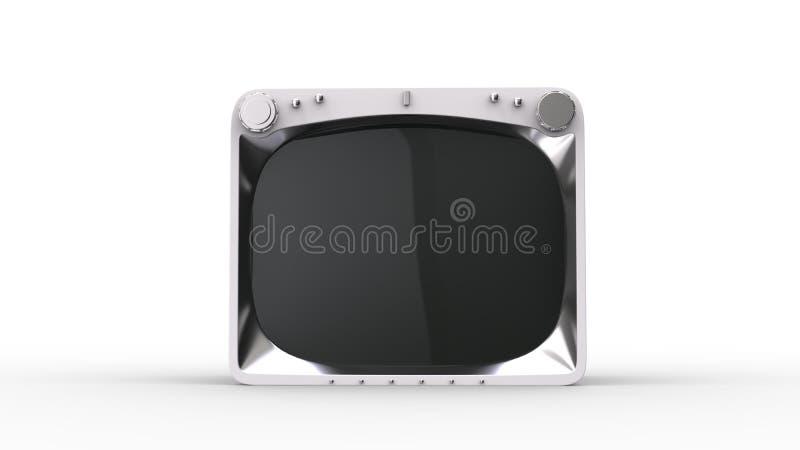 Retro white TV set. Isolated on white background royalty free illustration