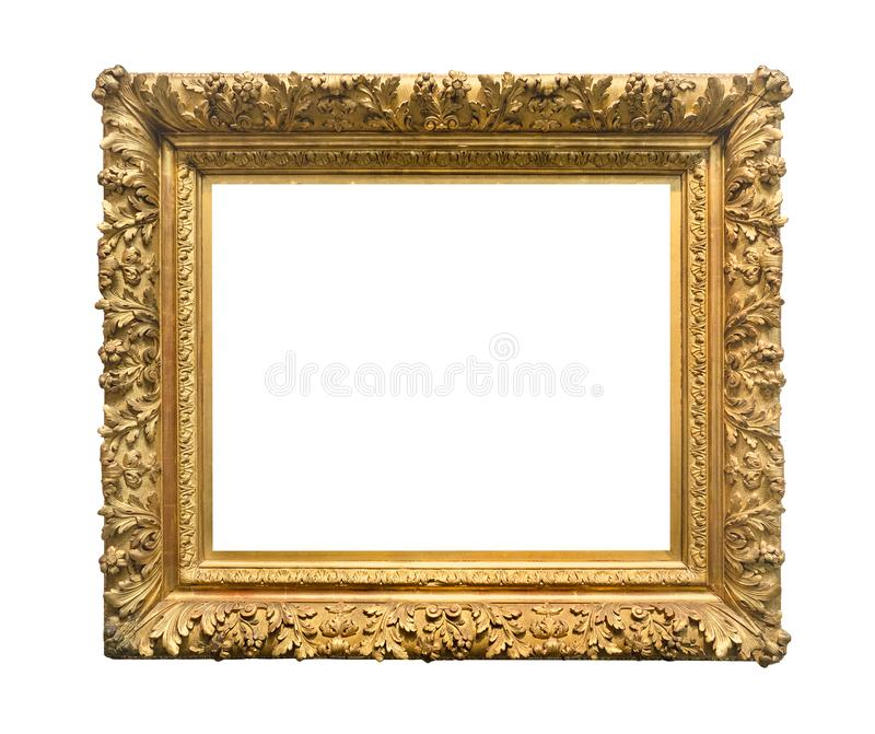 Retro wide ornamental baroque painting frame stock image