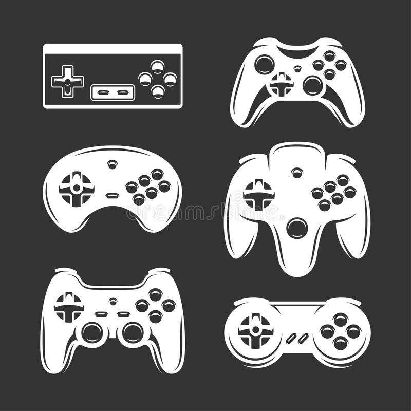 Retro wideo gier joysticka set Wektorowa rocznik ilustracja royalty ilustracja