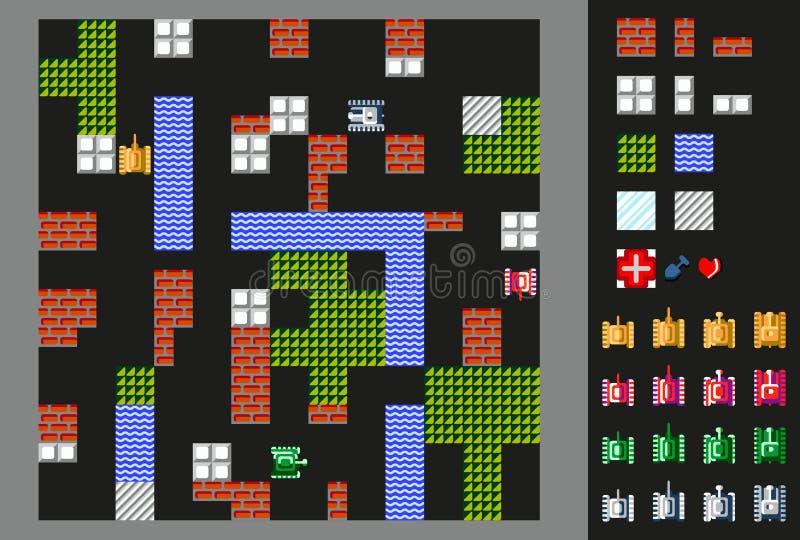 Retro wideo gra Interfejs użytkownika z zbiornikami, terenem i przeszkodami, ilustracja wektor