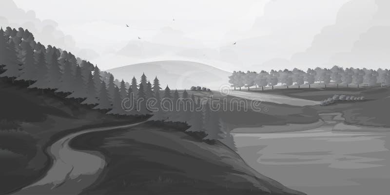 Retro wiejscy krajobrazy Set w wiejskich krajobrazach malował czarne linie również zwrócić corel ilustracji wektora ilustracja wektor