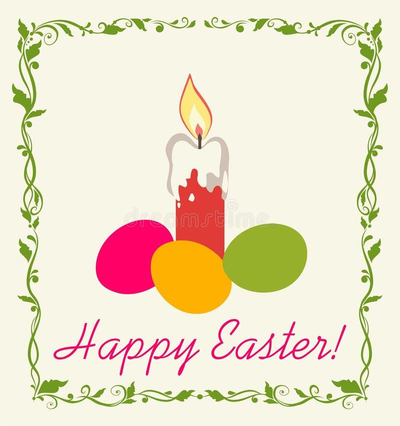 Retro Wielkanocna kartka z pozdrowieniami z świeczką i malującymi jajkami ilustracji