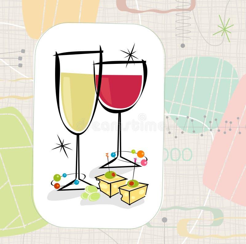 Retro Wijn en Kaas (Vector) stock illustratie