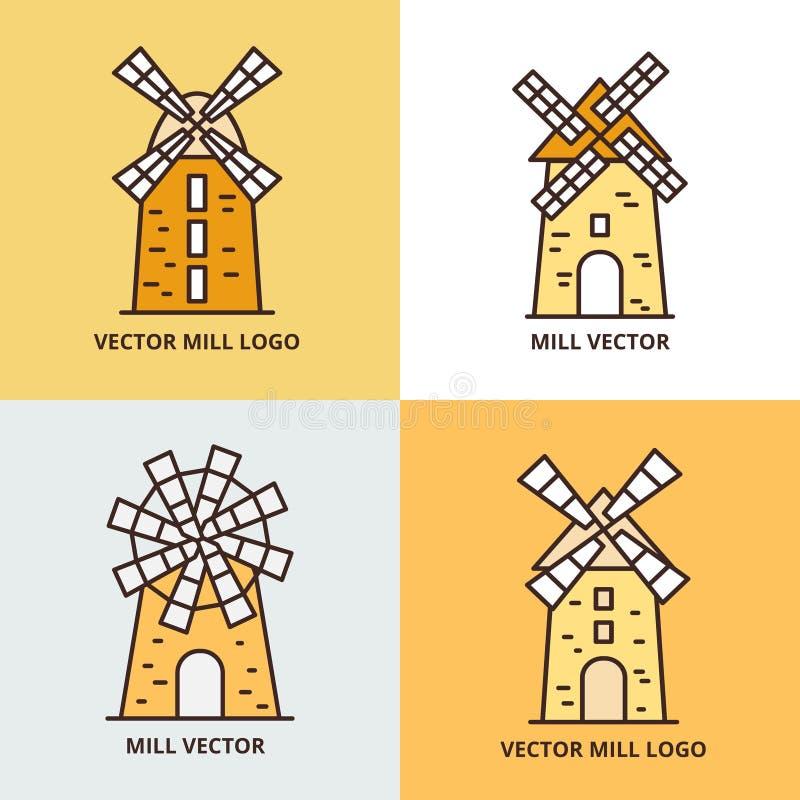 Retro windmill logo set. Wheat bread mill vector icons royalty free illustration