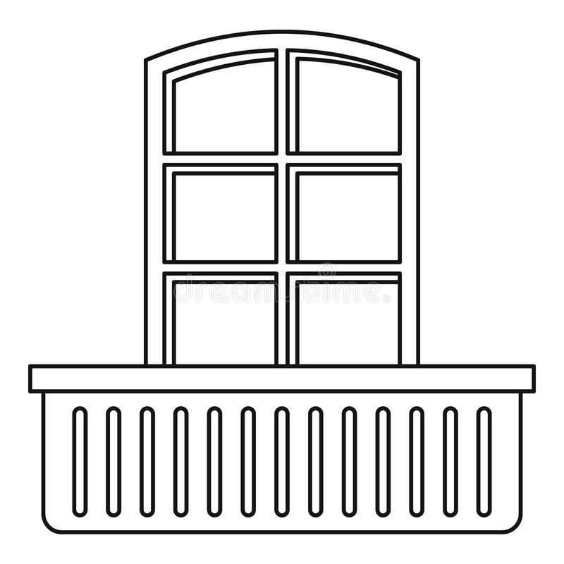 Retro window and balcony icon, outline style. Retro window and balcony icon. Outline illustration of retro window and balcony vector icon for web royalty free illustration