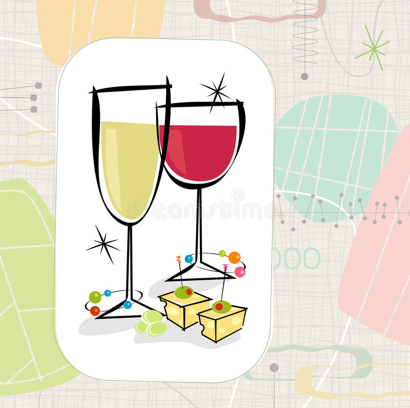 Retro Wine and Cheese (Vector) stock illustration