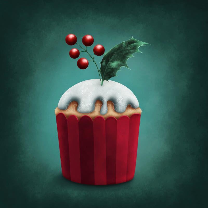 Retro winter cupcake royalty-vrije illustratie