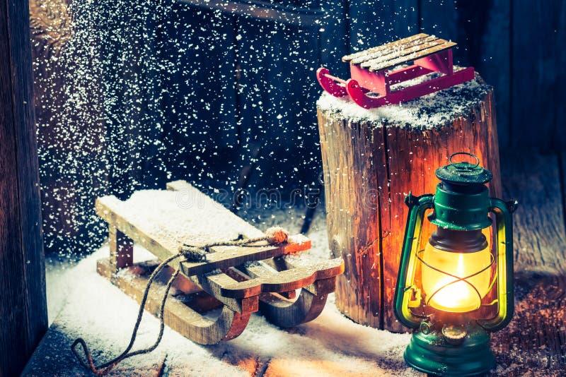Retro winter hut as a philosophy Hygge stock image