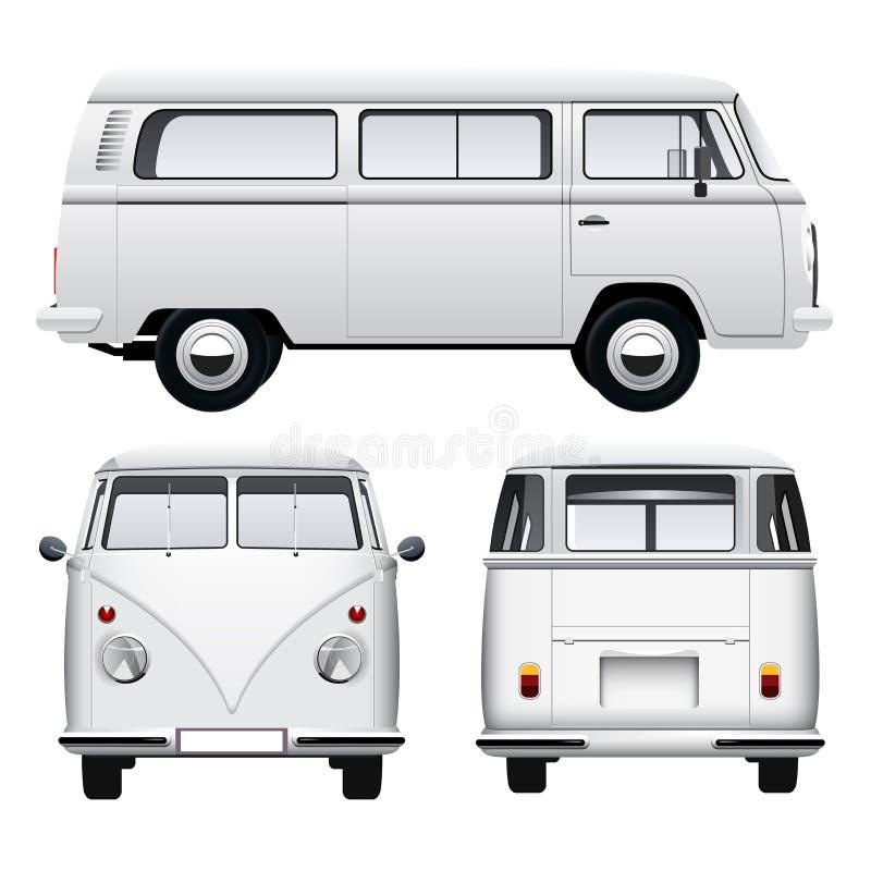 Retro Witte Bestelwagen stock illustratie