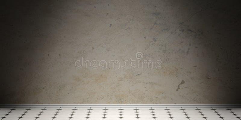 Retro witte en zwarte keramische tegelsvloer, oude grijze cementmuur en het witte begrenzen, exemplaarruimte 3D Illustratie vector illustratie