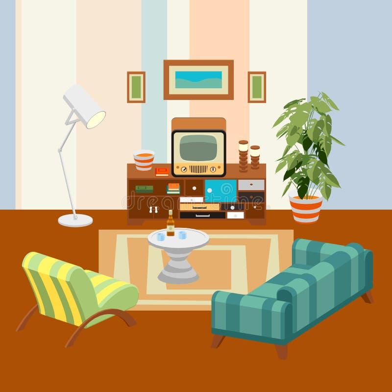 Retro- Wohnzimmer lizenzfreie abbildung
