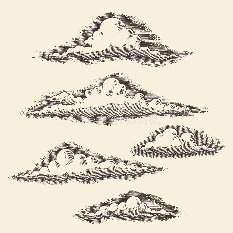 Retro Wolken die Vectorhand Getrokken Schets graveren royalty-vrije illustratie