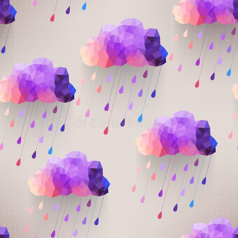 Retro wolken naadloos patroon met regensymbool, hipster backgroun royalty-vrije illustratie