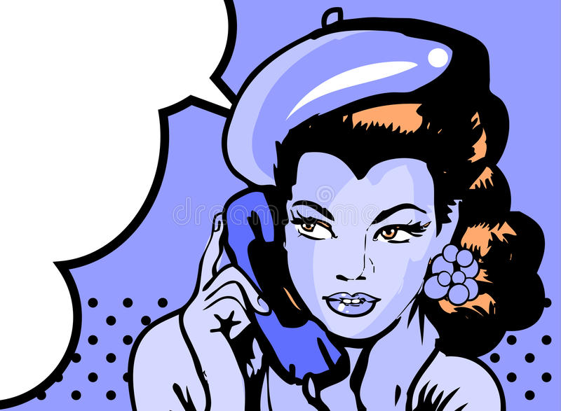 Retro woman in chat by phone retro background or banner royalty free illustration