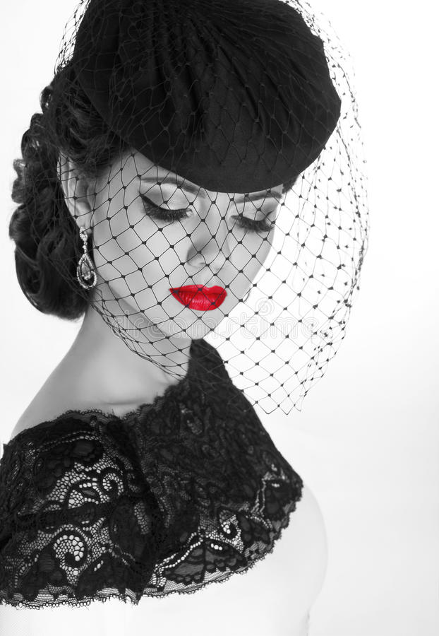 Retro woman. Fashion model girl portrait. Black and white photo. Isolated on white background stock photos