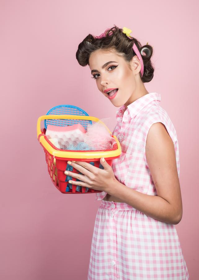 Retro woman go shopping with full cart. vintage housewife woman ready to pay in supermarket. happy girl enjoying online. Shopping. savings on purchases. online stock photos