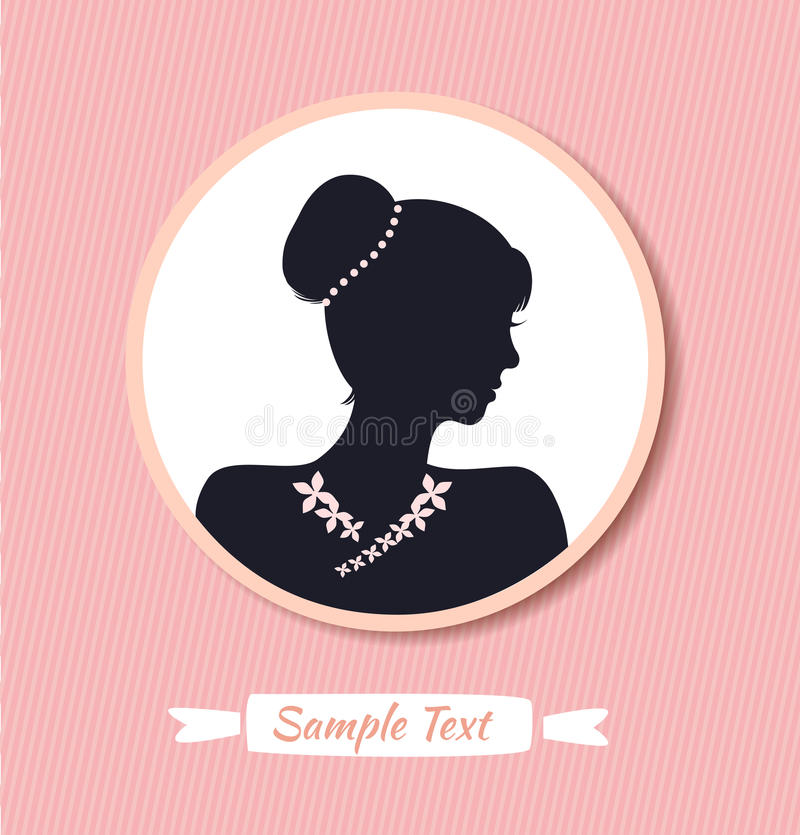 Retro woman head silhouette in round frame. Vector woman half face. Vintage lady portrait royalty free illustration