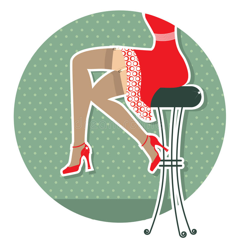 Retro woman legs royalty free illustration